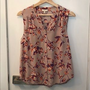 Floral Sleeveless Button Down